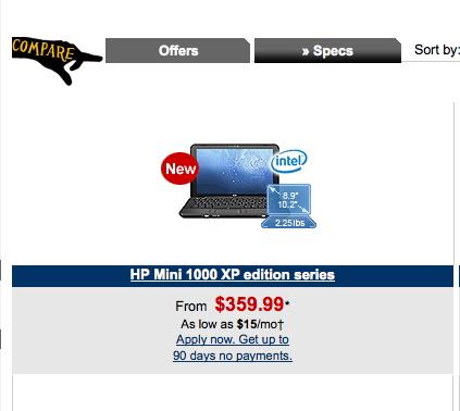 HP Mini 1000 price