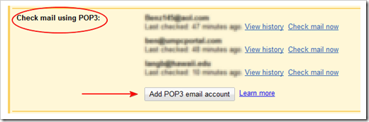 check mail using and add pop3 highlight