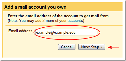 email address entry example