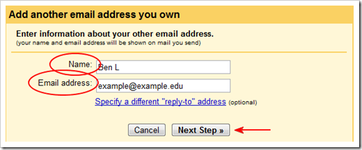 imap name email next step highlight