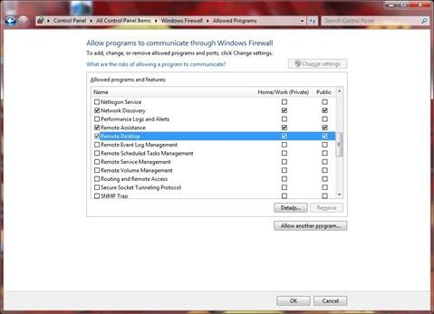 Firewall Remote Desktop