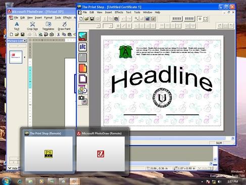 Virtual applications running