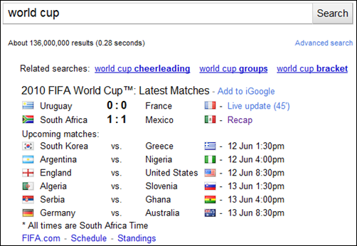 world cup google results